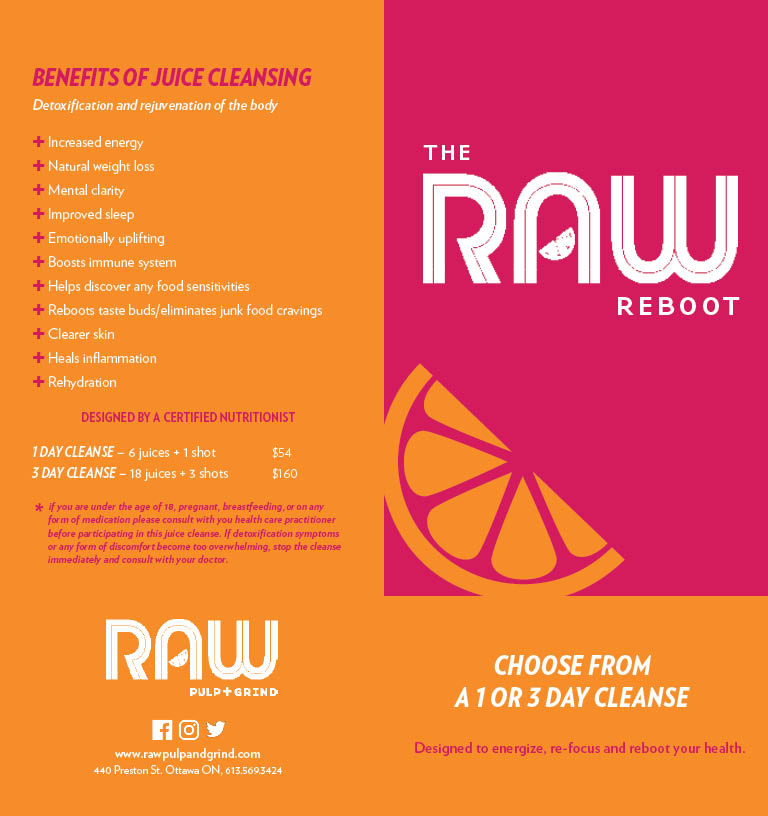 RAW Pulp and Grind Cleanse Brochure